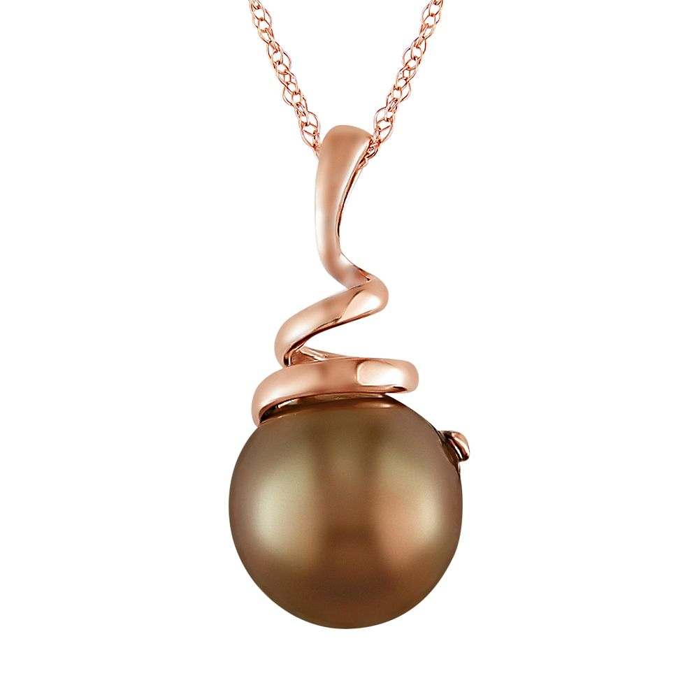 10k Rose Gold Brown Tahitian Cultured Pearl Swirl Pendant