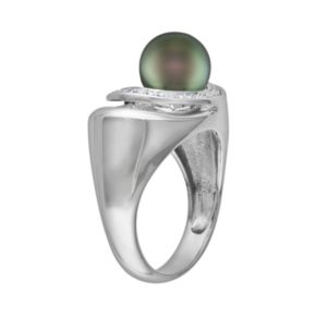 Sterling Silver Tahitian Cultured Pearl and Diamond Accent Openwork Ring