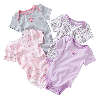 First Moments 4-pk. Kitty Bodysuits - Baby