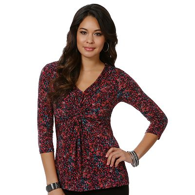daisy fuentes Splatter Empire Knot-Front Top