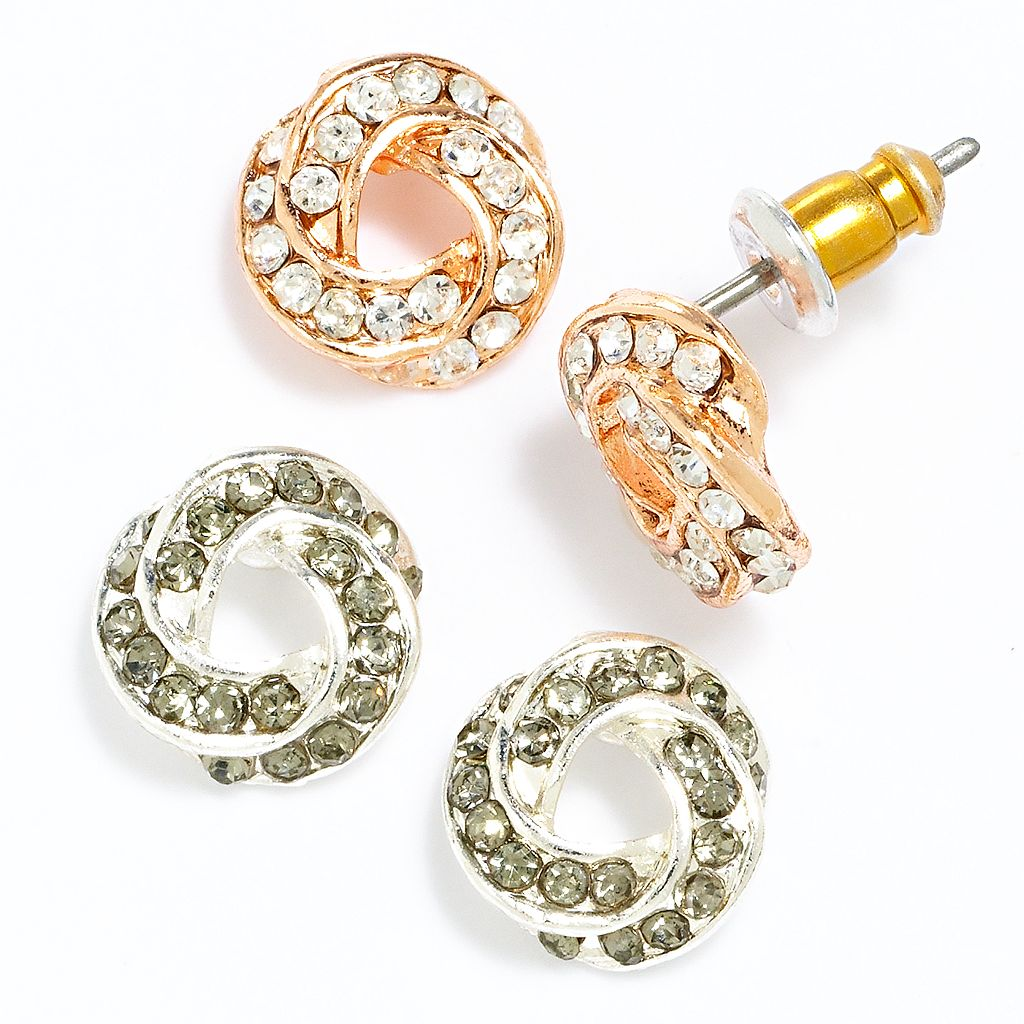 LC Lauren Conrad Two Tone Simulated Crystal Love Knot Button Stud Earring Set