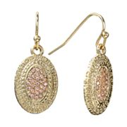 LC Lauren Conrad Gold Tone Simulated Crystal Textured Drop Earrings