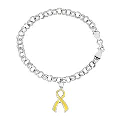 Platinum Over Silver Yellow Ribbon Charm Rolo Bracelet