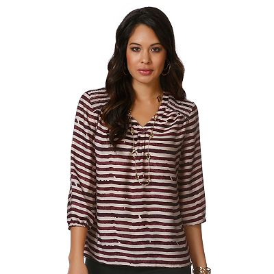 daisy fuentes Striped Smocked Top