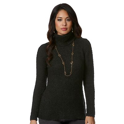 daisy fuentes Solid Turtleneck Sweater