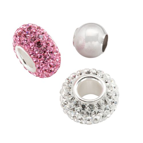 Individuality Beads Sterling Silver Pink Crystal and Spacer Bead Set