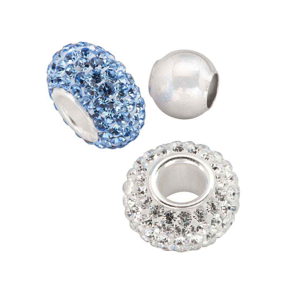 Individuality Beads Sterling Silver Blue Crystal & Spacer Bead Set