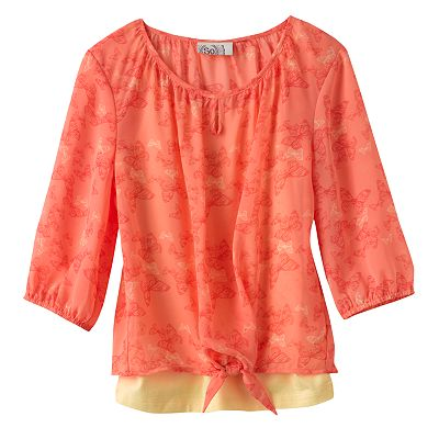 SO Butterfly Chiffon Top and Camisole Set - Girls 7-16
