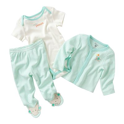 First Moments Striped Elephant Cardigan Set - Baby