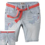 Mudd Embroidered Belted Denim Bermuda Shorts - Girls 4-6x