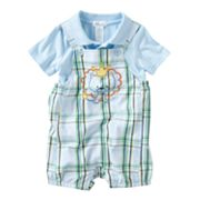 First Moments Plaid Lion Shortalls and Polo Bodysuit Set - Baby