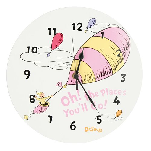 Dr. Seuss's Oh! the Places You'll Go! Wall Clock by Trend Lab - Pink