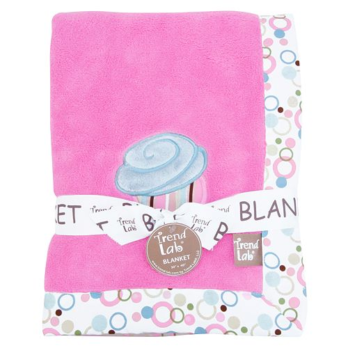 Trend Lab Cupcake Coral Fleece Receiving Blanket