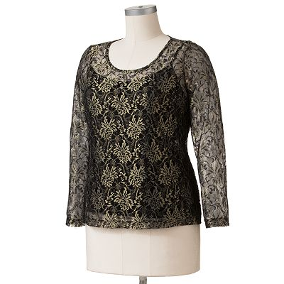 Dana Buchman Lurex Lace Top Set - Women's Plus