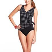 Croft and Barrow Dot Faux-Wrap One-Piece Swimsuit