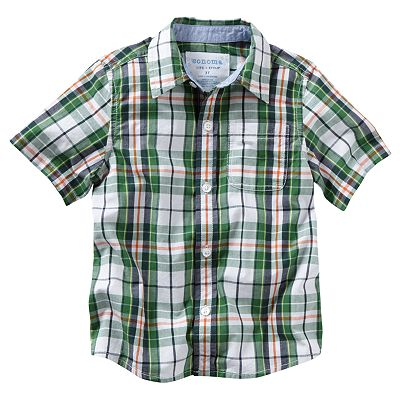 SONOMA life + style Plaid Poplin Button-Down Shirt - Toddler