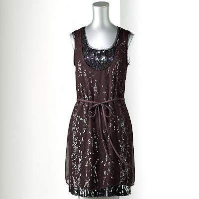 Simply Vera Vera Wang Sequin Mixed-Media Dress