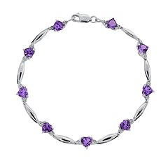 Sterling Silver Amethyst & Diamond Accent Heart Bracelet