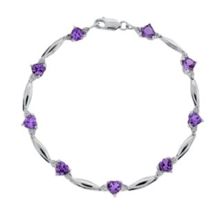 Sterling Silver Amethyst and Diamond Accent Heart Bracelet