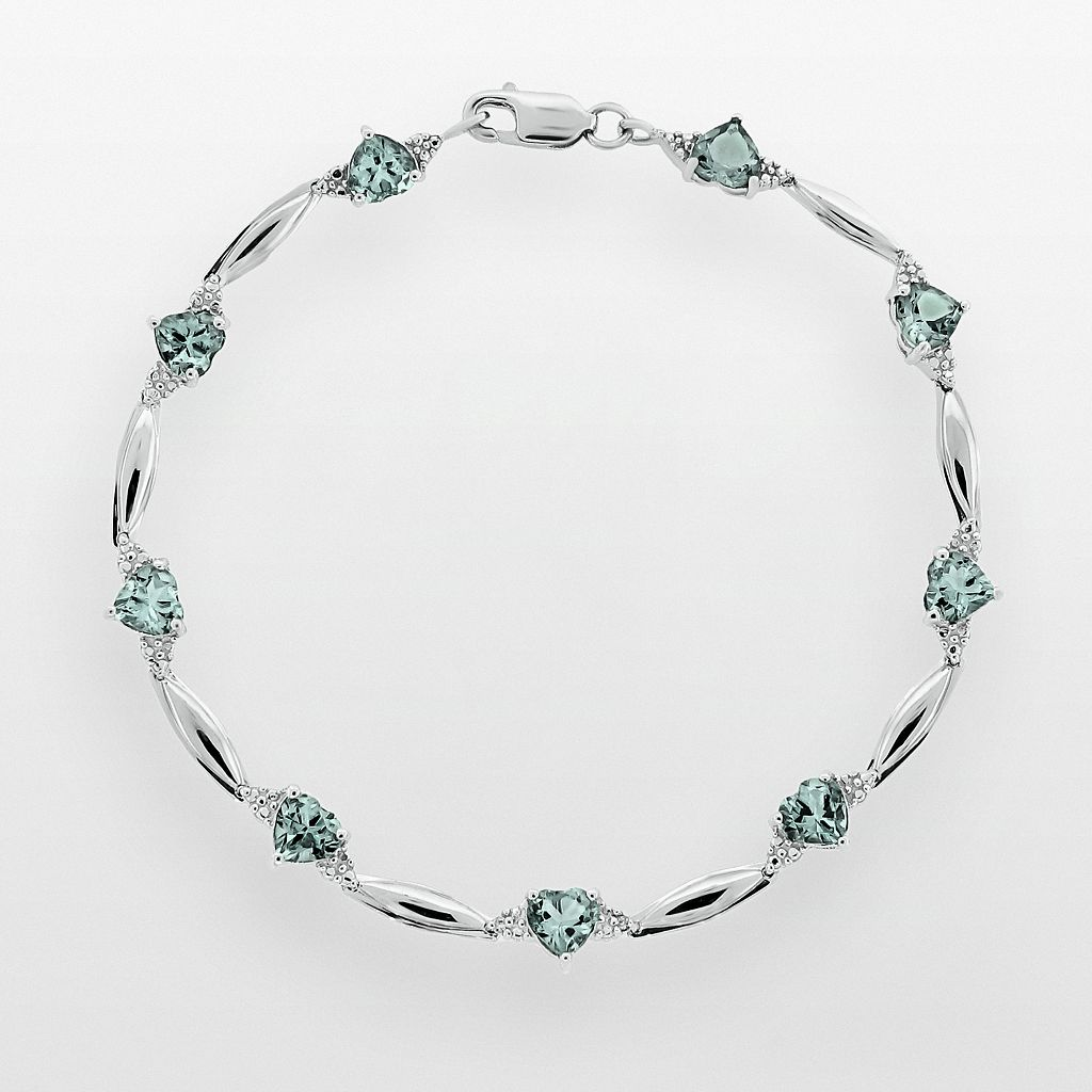 Sterling Silver Lab-Created Aquamarine & Diamond Accent Heart Bracelet