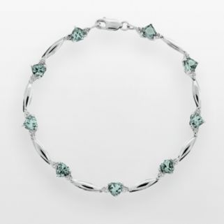 Sterling Silver Lab-Created Aquamarine and Diamond Accent Heart Bracelet
