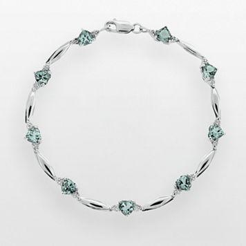 Sterling Silver Lab-Created Aquamarine & Diamond Accent Heart Bracelet