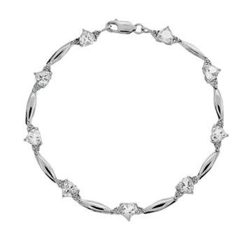 Sterling Silver White Topaz & Diamond Accent Heart Bracelet