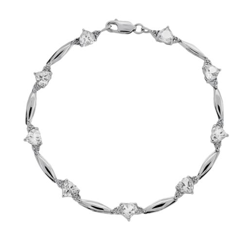 Sterling Silver White Topaz and Diamond Accent Heart Bracelet