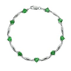 Sterling Silver Lab-Created Emerald & Diamond Accent Heart Bracelet