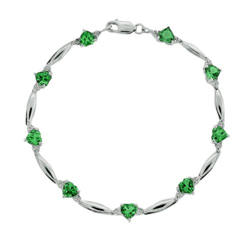 Sterling Silver Lab-Created Emerald and Diamond Accent Heart Bracelet