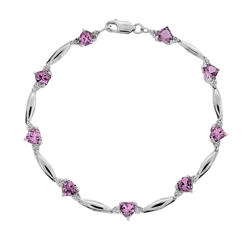Sterling Silver Lab-Created Pink Sapphire & Diamond Accent Heart Bracelet