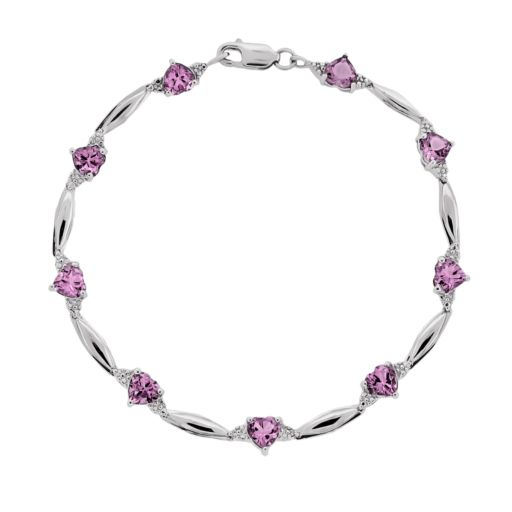 Sterling Silver Lab-Created Pink Sapphire and Diamond Accent Heart Bracelet