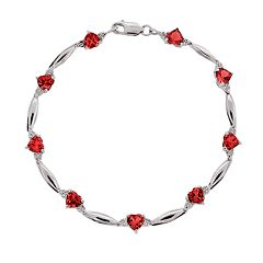 Sterling Silver Lab-Created Ruby & Diamond Accent Heart Bracelet