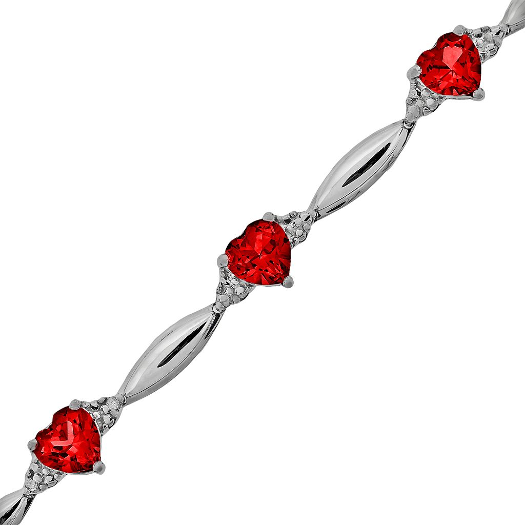 Sterling Silver Lab-Created Ruby and Diamond Accent Heart Bracelet