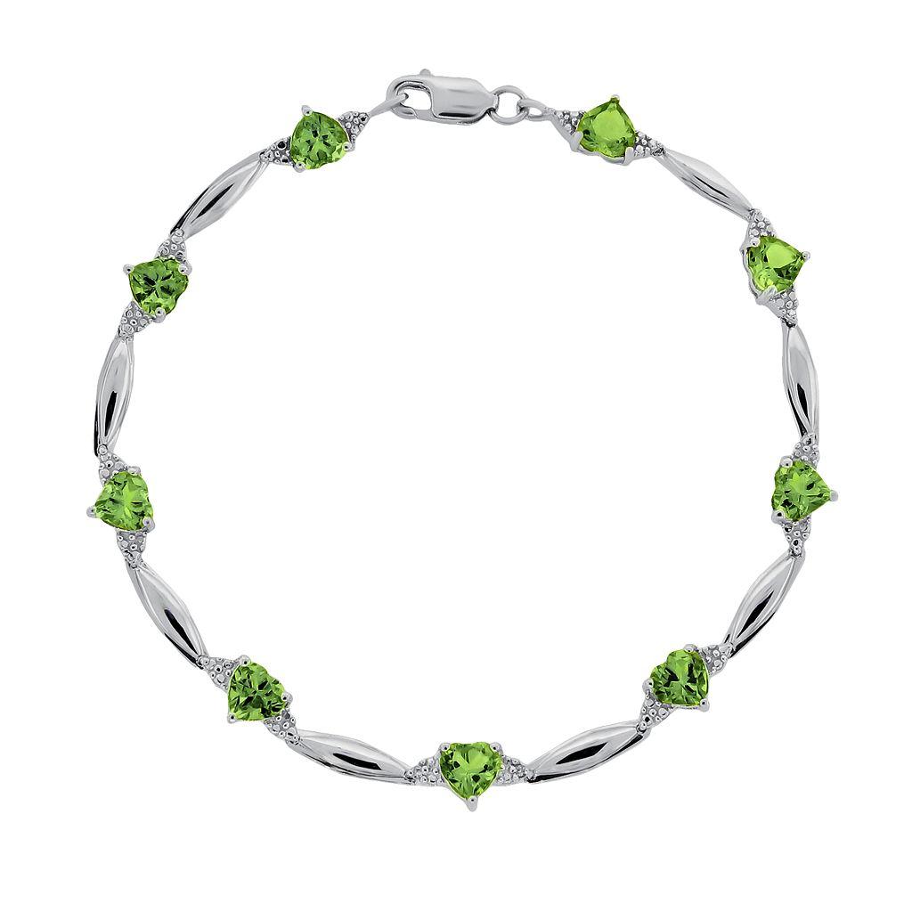 Sterling Silver Peridot & Diamond Accent Heart Bracelet