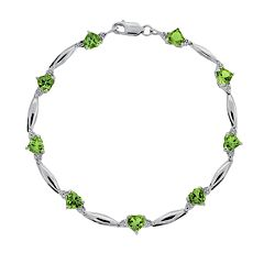 Sterling Silver Peridot & Diamond Accent Heart Bracelet