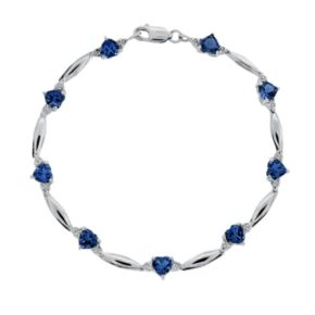Sterling Silver Lab-Created Sapphire and Diamond Accent Heart Bracelet