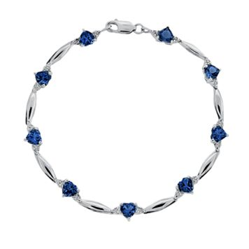 Sterling Silver Lab-Created Sapphire & Diamond Accent Heart Bracelet
