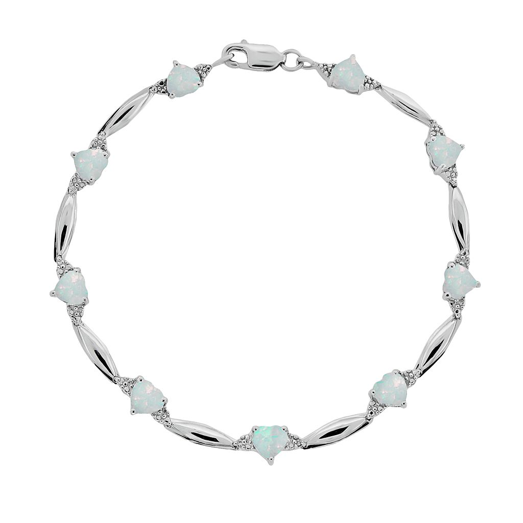Sterling Silver Lab-Created Opal & Diamond Accent Heart Bracelet