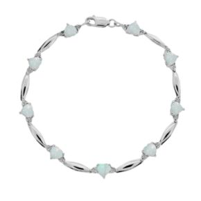 Sterling Silver Lab-Created Opal and Diamond Accent Heart Bracelet