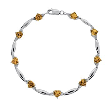 Sterling Silver Citrine & Diamond Accent Heart Bracelet