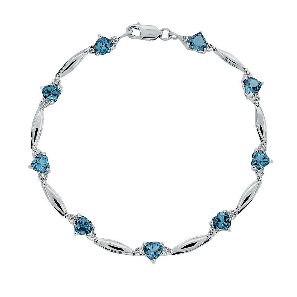 Sterling Silver Blue Topaz & Diamond Accent Heart Bracelet