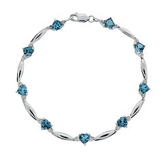 Sterling Silver Blue Topaz & Diamond Accent Heart Bracelet