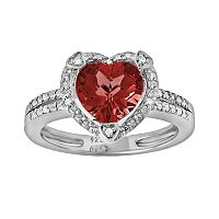 Sterling Silver Garnet & Diamond Accent Heart Frame Ring