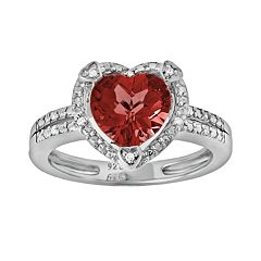 Sterling Silver Garnet & Diamond Accent Heart Frame Ring by