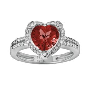 Sterling Silver Garnet and Diamond Accent Heart Frame Ring