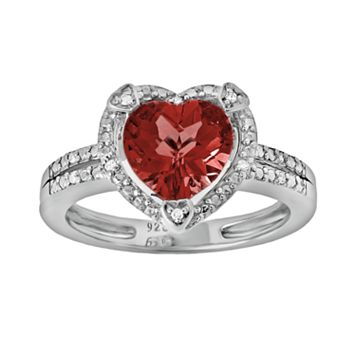 Sterling Silver Garnet & Diamond Accent Heart Frame Ring