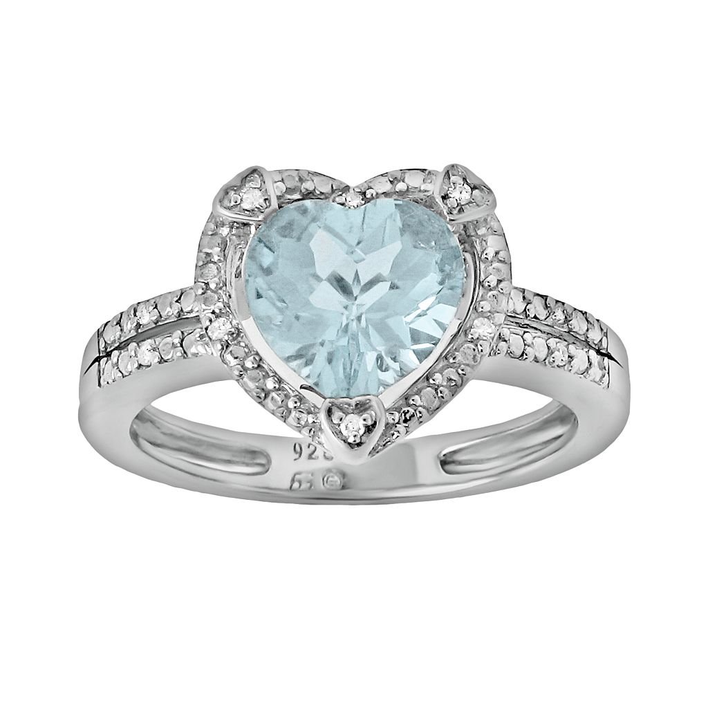 Sterling Silver Lab-Created Aquamarine & Diamond Accent Heart Frame Ring