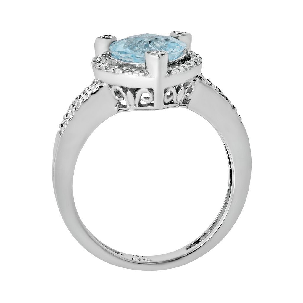 Sterling Silver Lab-Created Aquamarine and Diamond Accent Heart Frame Ring