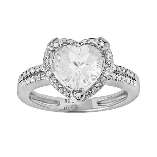 Sterling Silver White Topaz & Diamond Accent Heart Frame Ring